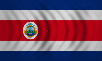 Flag of Costa Rica wavy, detailed fabric texture