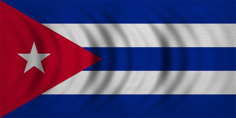 Flag of Cuba wavy, real detailed fabric texture