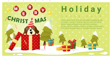 Merry Christmas Greeting background with dog inside gift box , vector , illustration