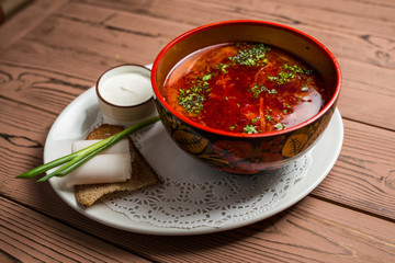 Beetroot soup with meat