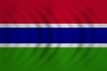 Flag of the Gambia wavy, detailed fabric texture