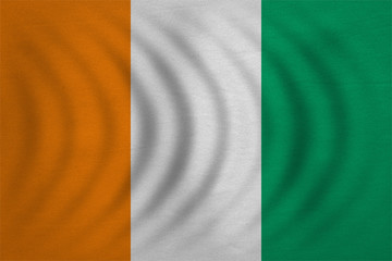 Flag of Ivory Coast wavy, detailed fabric texture
