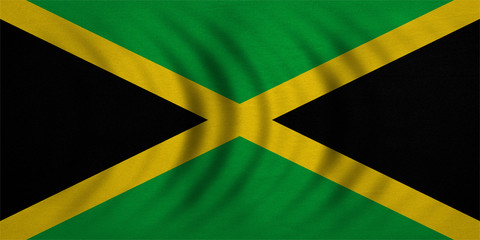 Flag of Jamaica wavy, real detailed fabric texture