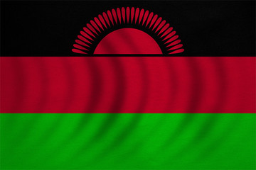 Flag of Malawi wavy, real detailed fabric texture