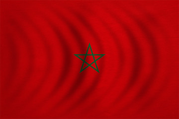 Flag of Morocco wavy, real detailed fabric texture