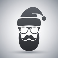 Silhouette of Santa Claus with a cool beard, mustache and glasses on a light gray background
