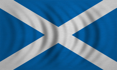 Flag of Scotland wavy real detailed fabric texture