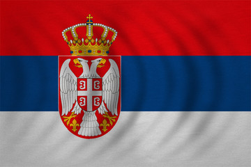 Flag of Serbia wavy, real detailed fabric texture