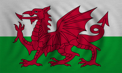 Flag of Wales wavy, real detailed fabric texture