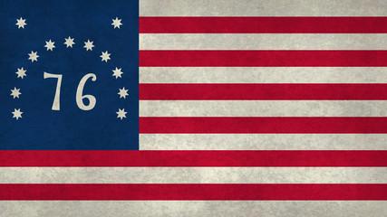 American Bennington flag with worn distressed textures