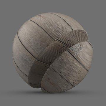 Gray nailed cypress planks