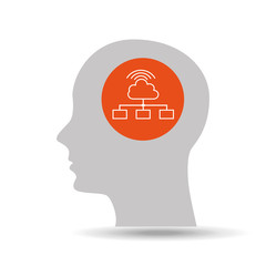 silhouette head cloud computing icon graphic vector illustration eps 10