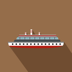 Long ship icon. Flat illustration of long ship vector icon for web