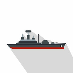 Warship icon. Flat illustration of warship vector icon for web