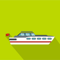 Big yacht icon. Flat illustration of big yacht vector icon for web