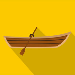 Boat with paddle icon. Flat illustration of boat with paddle vector icon for web