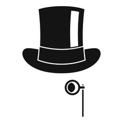 Hat with monocle icon. Simple illustration of hat with monocle vector icon for web