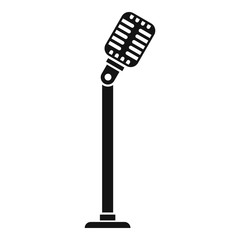 Microphone on stand icon. Simple illustration of microphone on stand vector icon for web