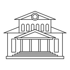 Theater building icon. Outline illustration of theater building vector icon for web