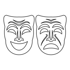 Happy and sad mask icon. Outline illustration of happy and sad mask vector icon for web