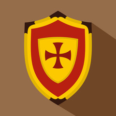 Shield with cross icon. Flat illustration of shield with cross vector icon for web