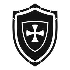 Shield with cross icon. Simple illustration of shield with cross vector icon for web