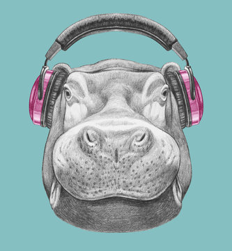 Portrait of Hippo with headphones. Hand drawn illustration.
