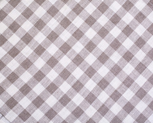Grey and white tablecloth