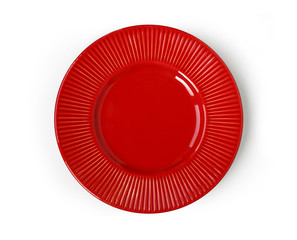 Empty stylish red ceramic round plate with ornament isolated on white background. Top view