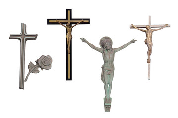 religious cross set isolated