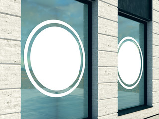 Outdoor mock up, a classical facade shop, 3d rendering, billboard in the window