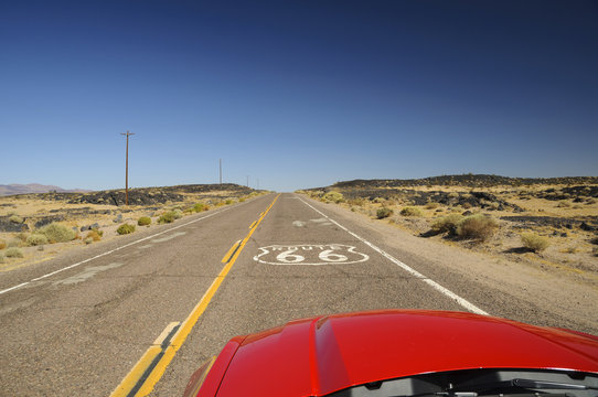 view from red car on famous Route 66 in Californian desert, USA