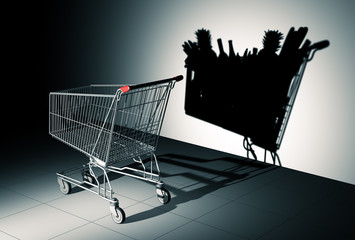 Empty Shopping Cart Cast Shadow On The Wall As Shopping Cart Full Of Food