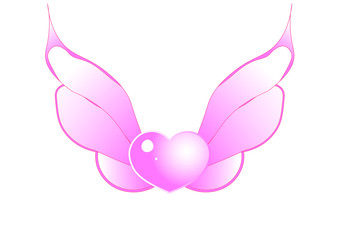 heart with wings pink