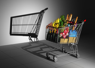 Shopping Cart Full Of Food Cast Shadow On The Wall As Empty Shopping Cart