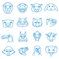 animals icons set, thin line design. different zoo animals, linear symbols collection. cartoon animals. isolated vector illustration.