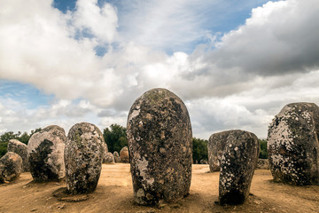 Almendres cromlech. Evora, Portugal.  It is one of the most important megalithic monuments of the Iberian Peninsula and one of the most important in Europe. Wall mural