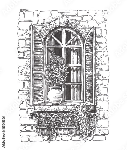 """Drawn sketch vintage window with shutters"" Stock photo ..."