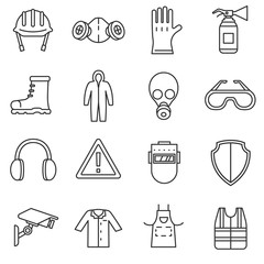 work safety icons set. means and methods of protection in the workplace, thin line design. safety, linear symbols collection. isolated vector illustration.