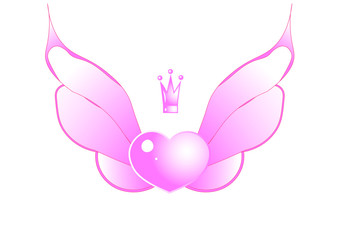 heart with wings pink with a crown