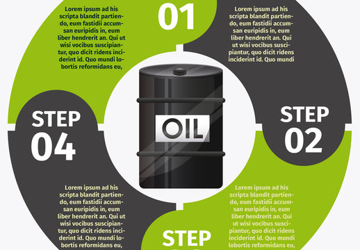 Circle Element Oil Energy Infographic with Barrel Icon 1