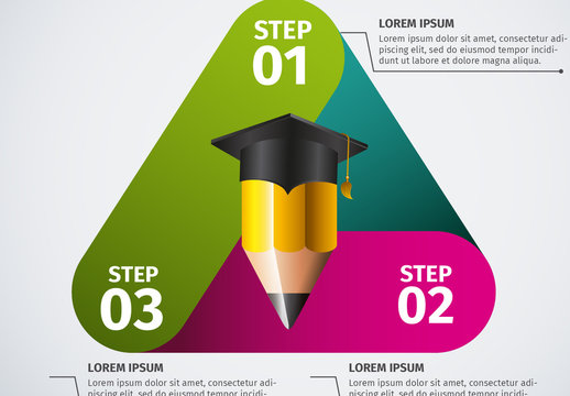 Education and Graduation Infographic with Triangle Element and Pencil/Cap Icon