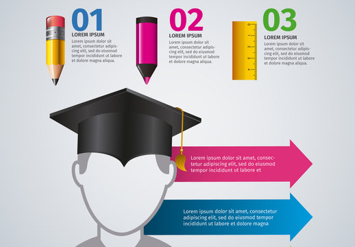 Education and Graduation Infographic with School Supplies Icons