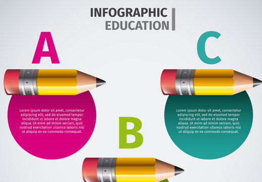 Education Data Infographic with Pencil Header Element 1
