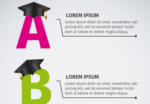 Education Data Infographic with Graduation Header Element