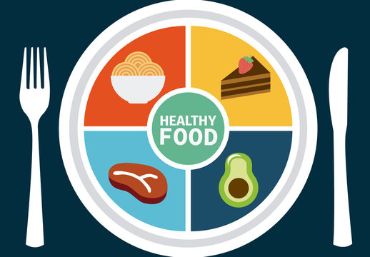 Nutrition Wheel Infographic with Plate Element and Food Icon Set