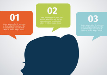 Talk Bubble Tab Element Infographic with Profile Silhouette Icon 1