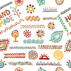 Ethnic handmade ornament, seamless pattern for your design. Vector seamless pattern.