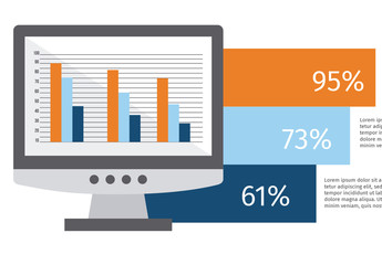 Horizontal Bar Graph Business Infographic with Device Icons