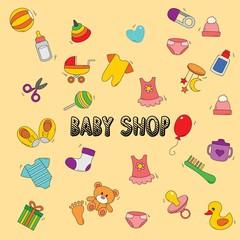 Baby Shop doodle icon vector illustration.